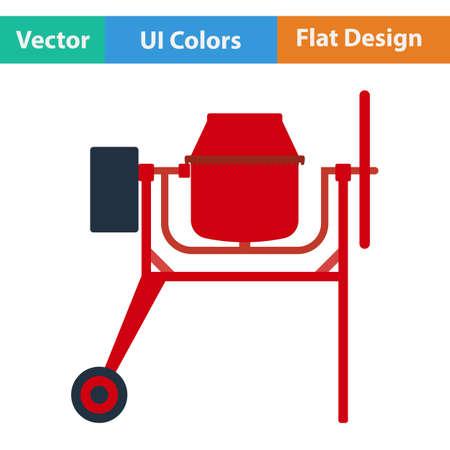 Flat design icon of Concrete mixer in ui colors. Vector illustration.