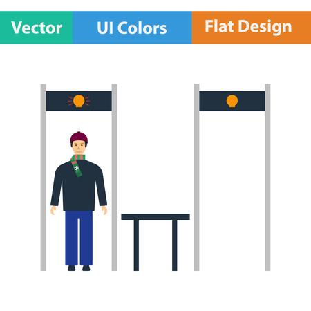 metal detector: Stadium metal detector frame with inspecting fan icon. Flat design in ui colors. Vector illustration.