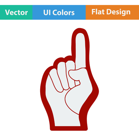 foam hand: Fan foam hand with number one gesture icon. Flat design in ui colors. Vector illustration. Illustration