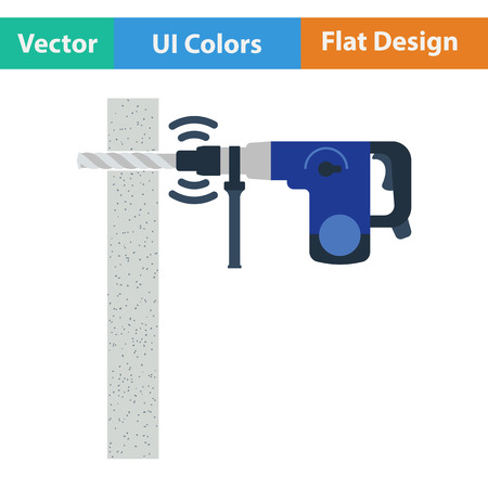 perforator: Flat design icon of perforator drilling wall in ui colors. Vector illustration.