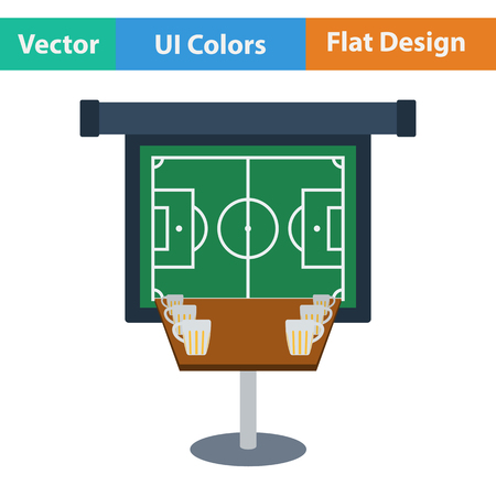 projection screen: Sport bar table with mugs of beer and football translation on projection screen icon. Flat design in ui colors. Vector illustration.