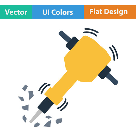 construction icon: Flat design icon of Construction jackhammer in ui colors. Vector illustration.