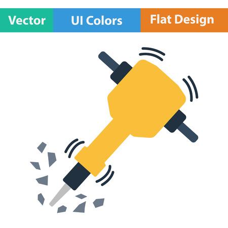 Ui の色で工事の削岩機のフラットなデザイン アイコン。ベクトルの図。