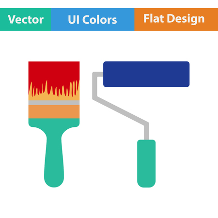 flat brushes: Flat design icon of construction paint brushes in ui colors. Vector illustration. Illustration