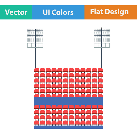 outdoor seating: Stadium tribune with seats and light mast icon. Flat design in ui colors. Vector illustration. Illustration