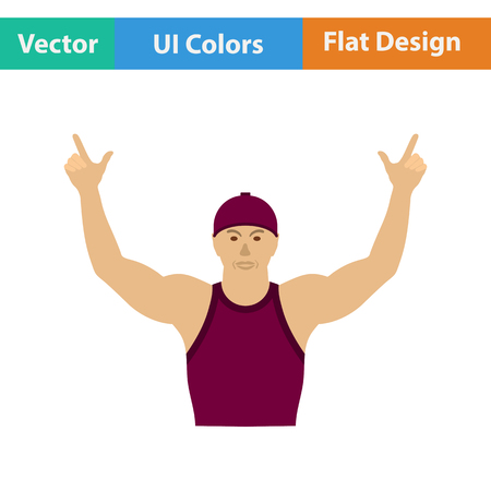 football fan: Football fan with hands up icon. Flat design in ui colors. Vector illustration. Illustration