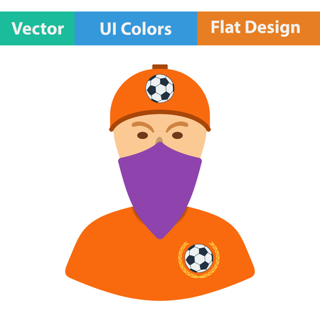 football fan: Football fan with covered  face by scarf icon. Flat design in ui colors. Vector illustration.