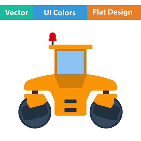 steamroller: Flat design icon of road roller in ui colors. Vector illustration. Illustration