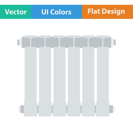 thawing: Flat design icon of Radiator in ui colors. Vector illustration.