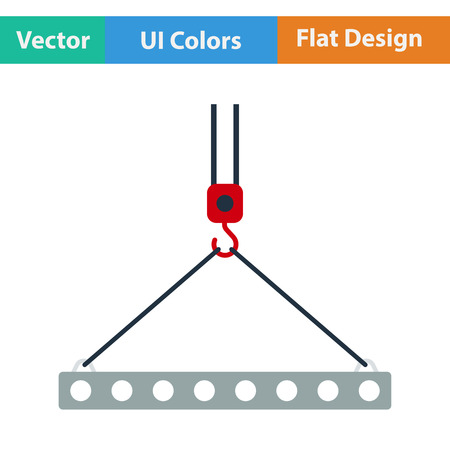 Flat design icon of slab hanged on crane hook by rope slings  in ui colors. Vector illustration.