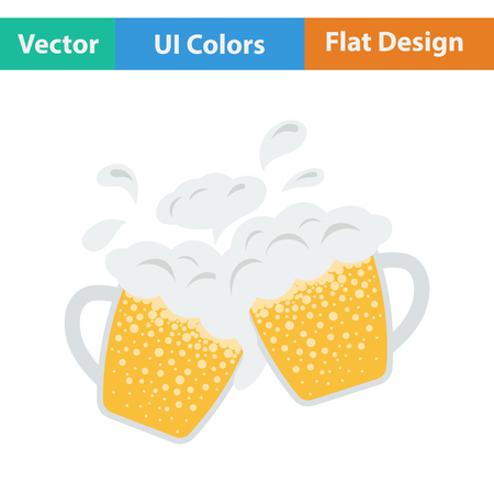 clinking: Two clinking beer mugs with fly off foam icon. Flat design in ui colors. Vector illustration. Illustration
