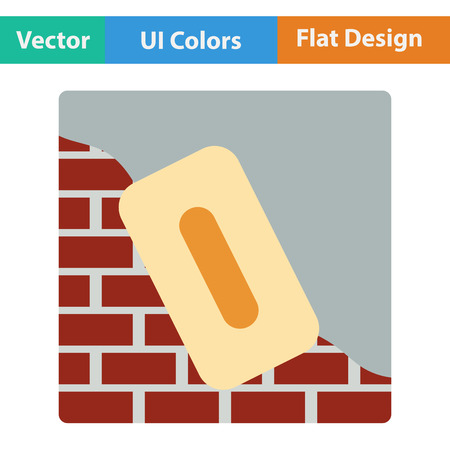 plasterer: Flat design icon of plastered brick wall  in ui colors. Vector illustration.