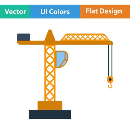 Flat design icon of crane in ui colors. Vector illustration.