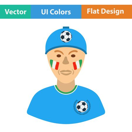 sport cartoon: Football fan with painted face by italian flags icon. Flat design in ui colors. Vector illustration. Illustration