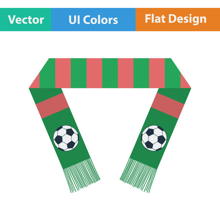 scarf: Football fans scarf icon. Flat design in ui colors. Vector illustration.