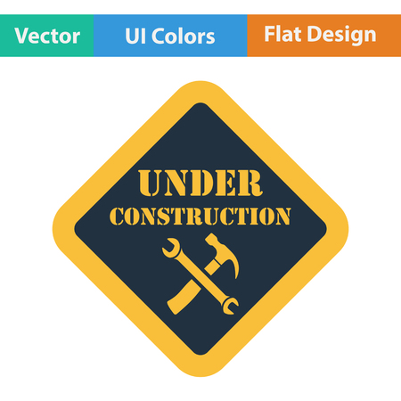 shopsign: Flat design icon of Under construction in ui colors. Vector illustration.