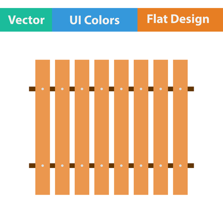paling: Flat design icon of Construction fence  in ui colors. Vector illustration.