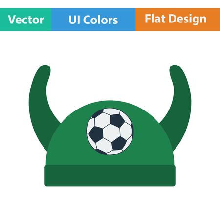 horned: Football fans horned hat icon. Flat design in ui colors. Vector illustration.