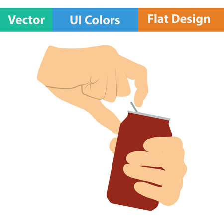 aluminum can: Human hands opening aluminum can icon. Flat design in ui colors. Vector illustration.