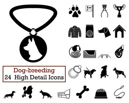 Set de 24 icônes chien d'élevage en noir Color.Vector illustration.