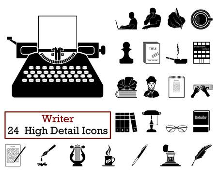 writer: Set of 24 Writer Icons in Black Color.Vector illustration. Illustration