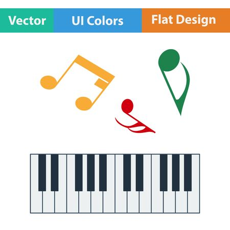 octaves: Flat design icon of Piano keyboard in ui colors. Vector illustration. Illustration