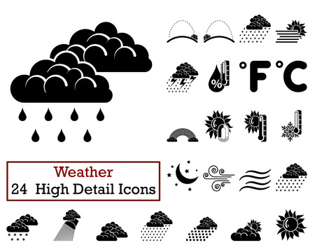 humidity: Set of 24 Weather Icons in Black Color.Vector illustration. Illustration