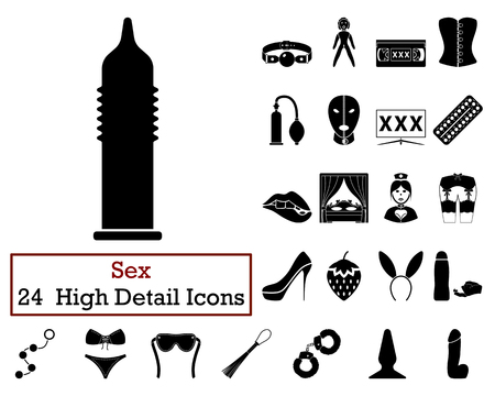 Set of 24 adult Icons in Black Color.Vector illustration. 向量圖像