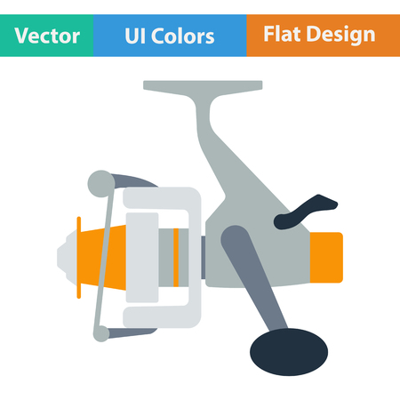 recreational pursuit: Flat design icon of Fishing reel  in ui colors. Vector illustration.