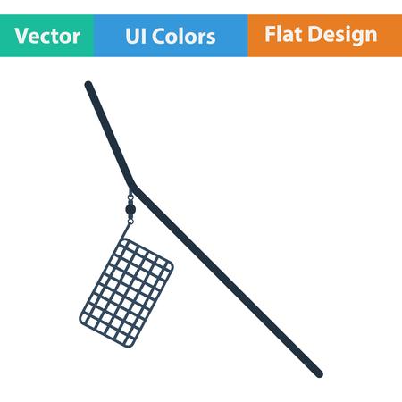 feeder: Flat design icon of  fishing feeder net in ui colors. Vector illustration.