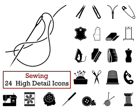 needles: Set of 24 Sewing Icons in Black Color.Vector illustration.