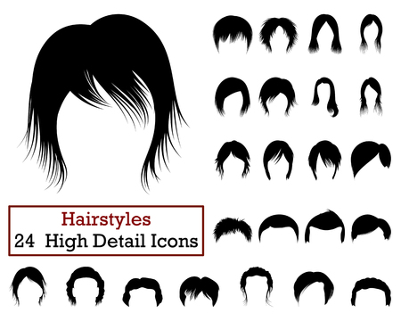 set of men hair styling: Set of 24 Hairstyles Icons in Black Color.Vector illustration. Illustration