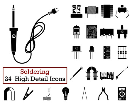 transistor: Set of 24 Soldering Icons in Black Color.Vector illustration.