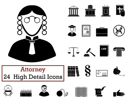 attorney: Set of 24 Attorney Icons in Black Color.Vector illustration.
