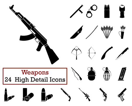 machete: Set of 24 Weapon Icons in Black Color.Vector illustration. Illustration