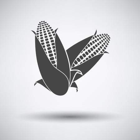 saludable logo: icono de maíz en fondo gris con la sombra redonda. Ilustración del vector.