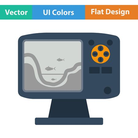 echo: Flat design icon of echo sounder   in ui colors. Vector illustration. Illustration