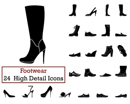 Set von 24 FootwearIcons in Schwarz Color.Vector Illustration.