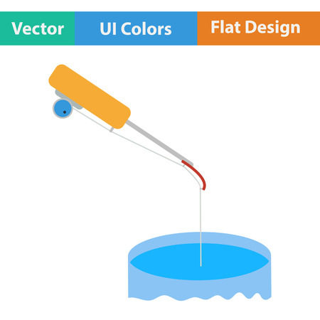 winter colors: Flat design icon of Fishing winter tackle  in ui colors. Vector illustration.