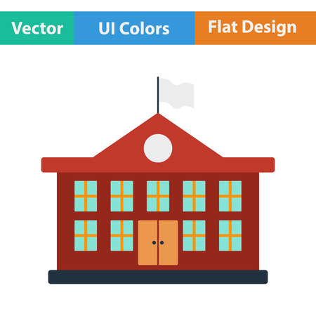 elementary school: Flat design icon of School building in ui colors. Vector illustration. Illustration