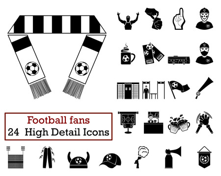 grandstand: Set of 24 Football Fans Icons in Black Color.Vector illustration. Illustration