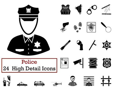 holster: Set of 24 Police Icons in Black Color.Vector illustration. Illustration