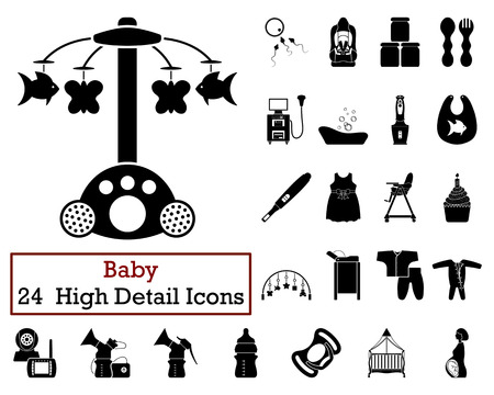 feeding bottle: Set of 24 Baby Icons in Black Color.Vector illustration.