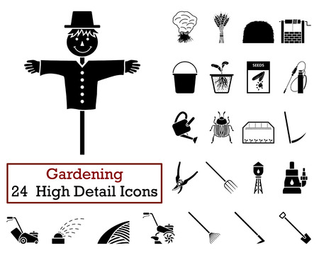 cultivator: Set of 24 Gardening Icons in Black Color.Vector illustration. Illustration