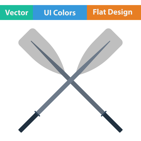 oars: Flat design icon of  boat oars in ui colors. Vector illustration. Illustration