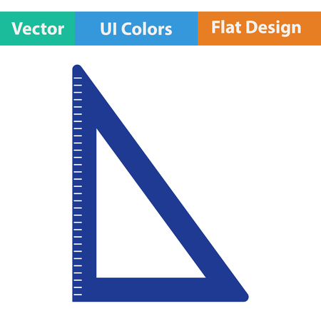 drafting tools: Flat design icon of Triangle in ui colors. Vector illustration. Illustration