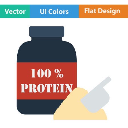 shakes: Flat design icon of Protein conteiner in ui colors. Vector illustration. Illustration