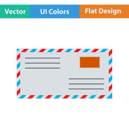 postscript: Flat design icon of Letter in ui colors. Vector illustration.