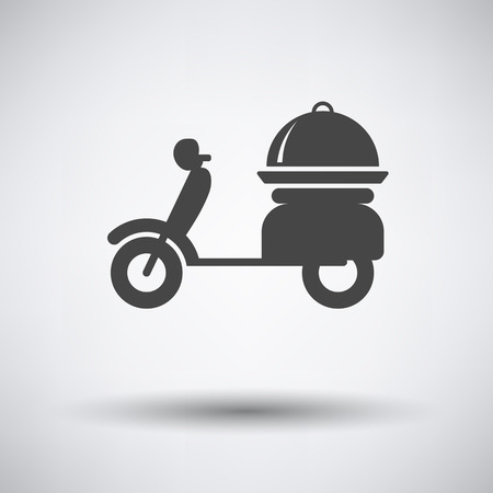 delivering: Delivering motorcycle icon on gray background with round shadow. Vector illustration. Illustration