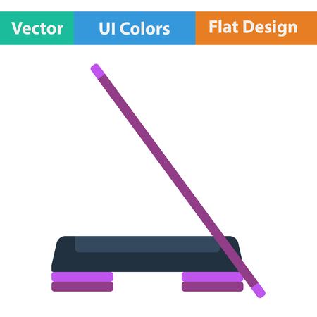 step fitness: Flat design icon of Step board and stick  in ui colors. Vector illustration.
